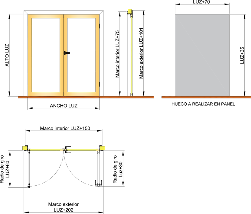 Puerta pivotante Modelo DS1 - 2 Hojas